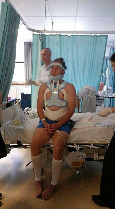 Simon Schull in hospital.