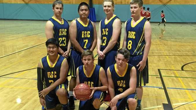 SLAM DUNK: Roma State Dropbears at the All School Basketball Championships last weekend.