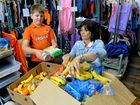 HELP: Koby Alexander and Christine Spicer from Helen's Haven pack hampers to give to JBS workers.