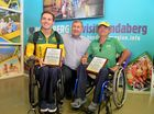 ON HOME SOIL: Rheed McCracken and Chris Pitt are welcomed home from the Rio Paralympics at Bundaberg Airport by Mayor Jack Dempsey.