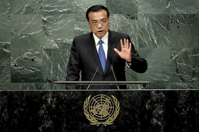 China's Premier Li Keqiang addresses the 71st session of the United Nations General Assembly, at U.N. headquarters, Wednesday, Sept. 21, 2016. (AP Photo/Richard Drew)