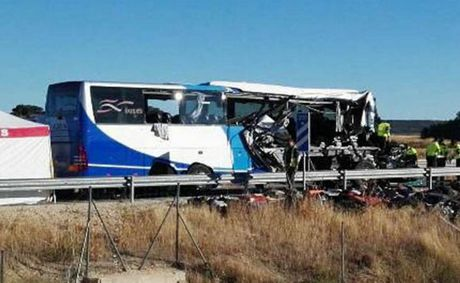 The horrific bus crash in Spain in which one man was killed and 45 injured, at least seven critically.