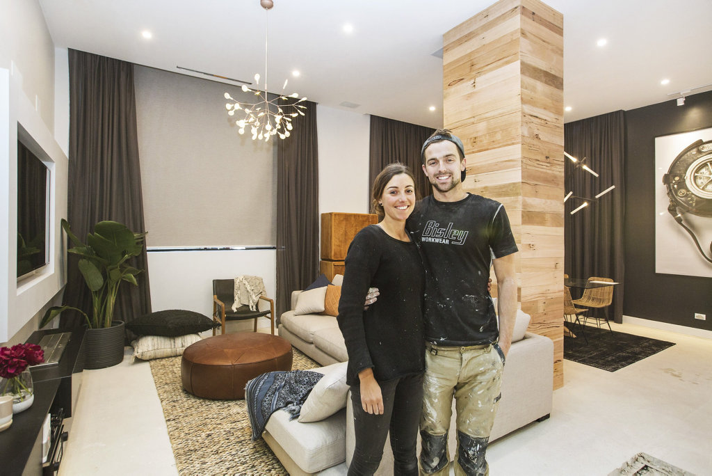 *WARNING EMBARGOED until 9pm Sunday September 25* Will and Karlie in their finished living room in a scene from The Block.