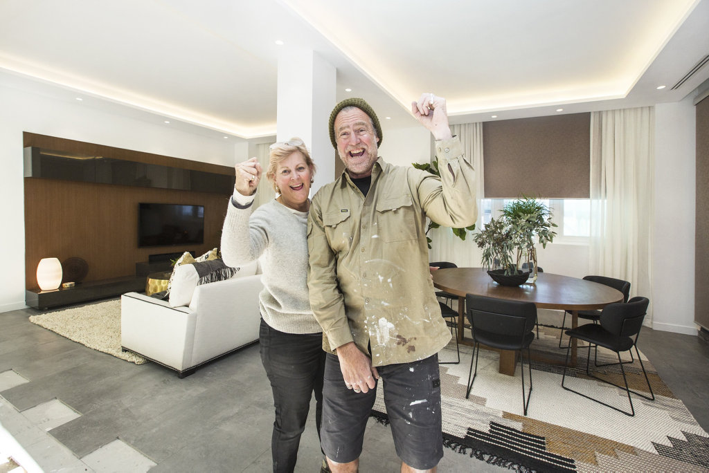 Dan and Carleen in their winning living and dining rooms in a scene from The Block.