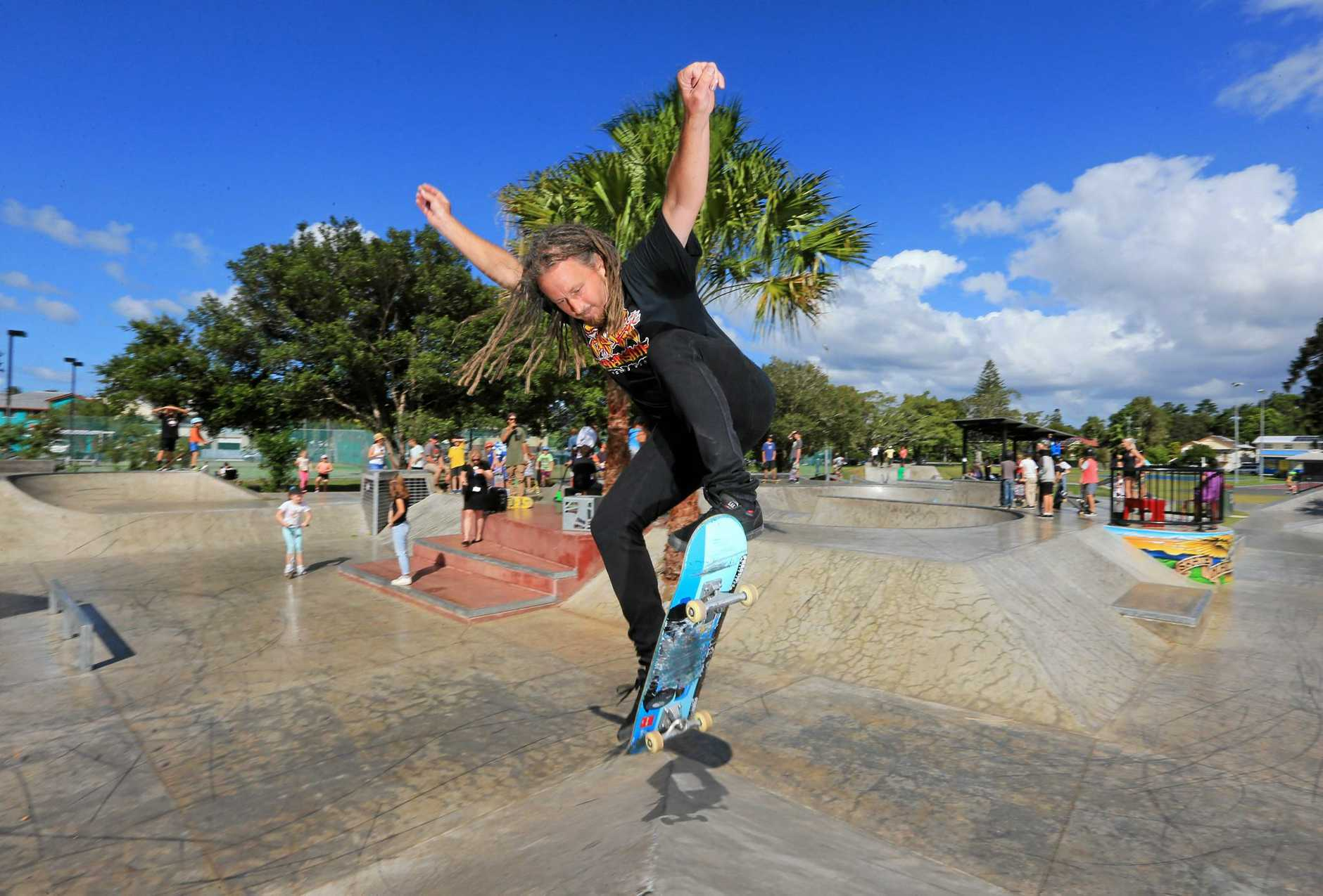 Local skating icon Tony Lawrence puts on a show for the local kids during the opening to the new skate park at Murwillumbah.