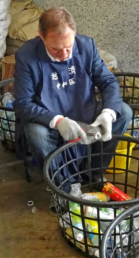 Paul Pisasale at Tzu Chi plastic bottle recycling facility.