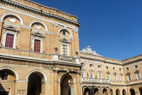 Recanati (Macerata, Marches, Italy): historic buildings in the main square of the city.