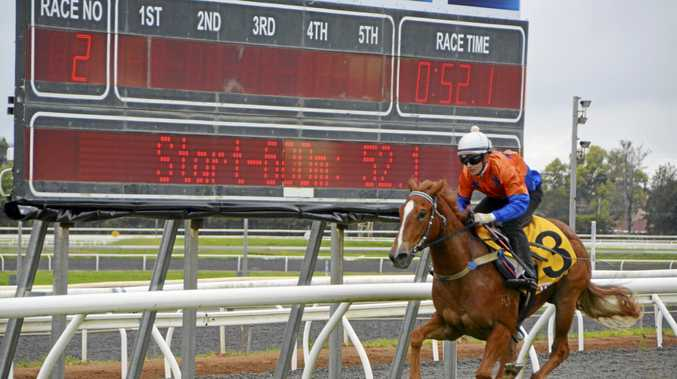 Sunshine Coast filly Star Picket cruises to an 850-metre barrier trial win for jockey Sky Bogenhuber at Clifford Park earlier this month.