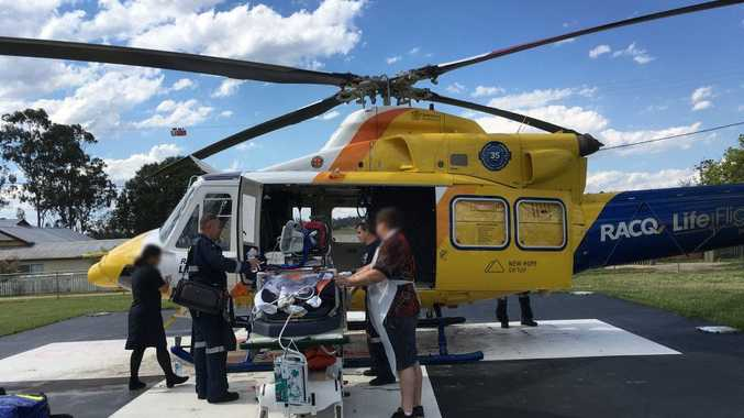 A MAN in his 40s has been airlifted by RACQ LifeFlight Rescue after falling off a dirt bike at Cherbourg.
