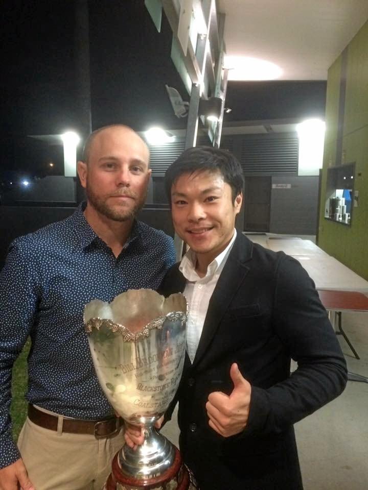 Ipswich Knights Player of the Year Lucas Wilson with team physio Shingo Sakai.