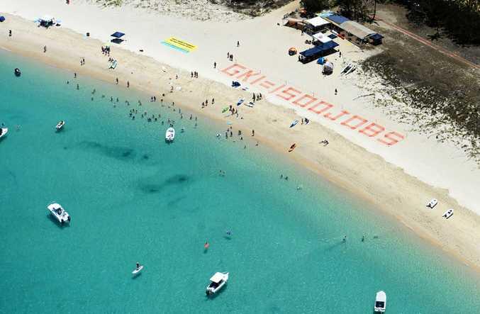 Aerial shot of Great Keppel Island (GKI) rally. Photo Allan Reinikka / The Morning Bulletin