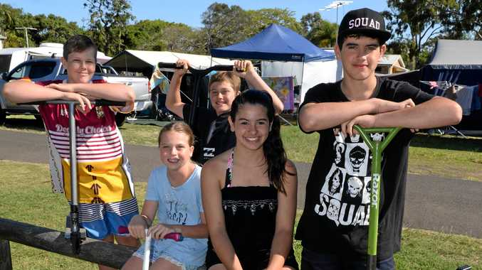 GREAT SPOT: Chevy Higgins, Fletcher Ace, Kendal Ace, Holly Crossley-Price and Lane Crossley-Price enjoying the holidays at Bargara Beach Caravan Park.