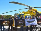 TO THE RESCUE: Members of HOGS and the Helirescue crew (from left : Mark Stenning, North Coast Chapter; Billie Haley, Northern NSW leader; Craig Santilla, Gold Coast Chapter; Iceman, director of GCC ; Vivien Resevsky, GCC; Sue Bergman,   GCC; Callum Fry, Helirescue crew; Mark Sewell, HC; and Bryan Felton, director of Mid North Coast Chapter.