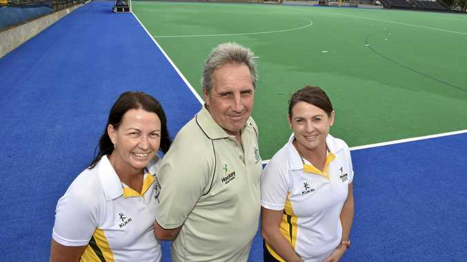 Hockey players heading to Canberra, from left: Sue Henare, Briane Northwood, Jenny Anderson to play in Masters Hockey tournament. March 21, 2016