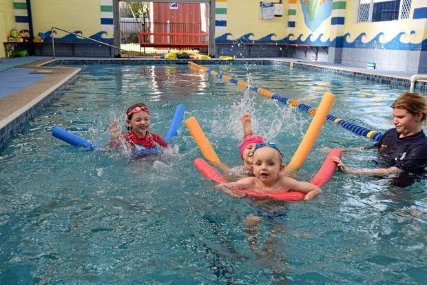 Delaynee Wheatley, Charlotte Sheales and Joachin Bretz make a splash.