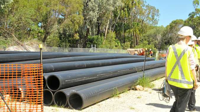 Stock pile of inflow and out flow pipes at the new intergrated water project at Agnes Waters on Wednesday afternoon. Photo Jen Tybell / The Observer. wate130110-4