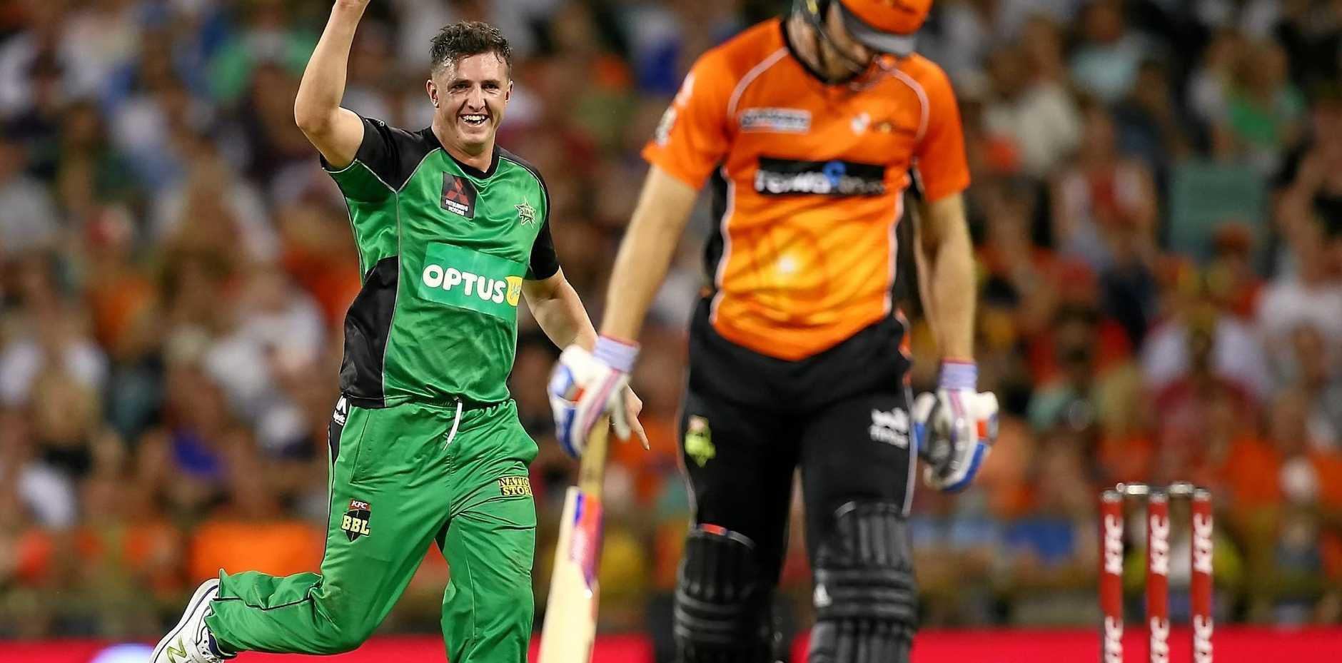 Dan Worrall of the Stars celebrates dismissing David Willey of the Scorchers during a Big Bash League.