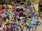 BALLOON MAGIC: Magician and balloon twister Magic Jake Meurs at Grafton Shoppingworld entertaining kids on their school holidays.