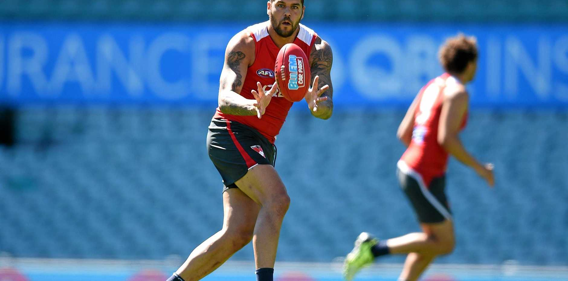 Sydney Swans player Lance Franklin takes part in a open training session and fan day at the Sydney Cricket Ground.
