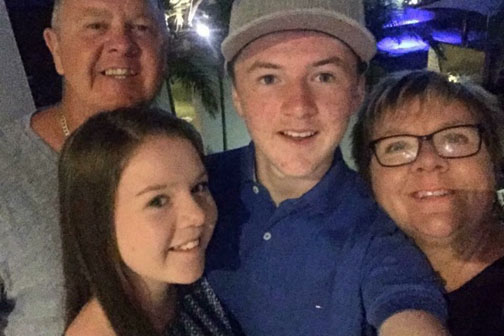 The Maskell family with son and bother Jack (centre) who died in a motorcycle crash on Friday.