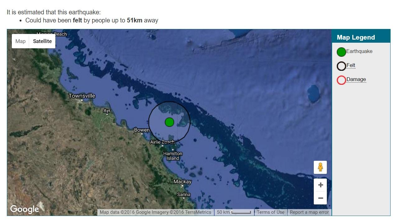 Geoscience Australia has recorded a 3.8 magnitude earthquake off Airlie Beach.