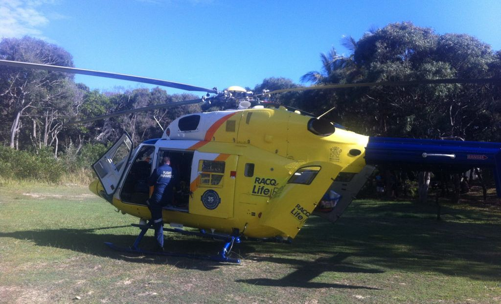 A teenage boy has been airlifted off Fraser Island.