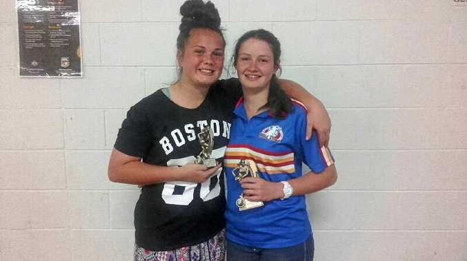 TWO OF THE BEST: Tiarne Leeding (U14s) was awarded Best Forward and Caitlyn Steele (U14s) received the Best and Fairest award.