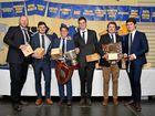 WINNERS ARE GRINNERS: A-grade award winners Broc Turner, Daniel Merker, John Moloney, Paul Maguire, Sam Hogarth and Hugh Fordyce.