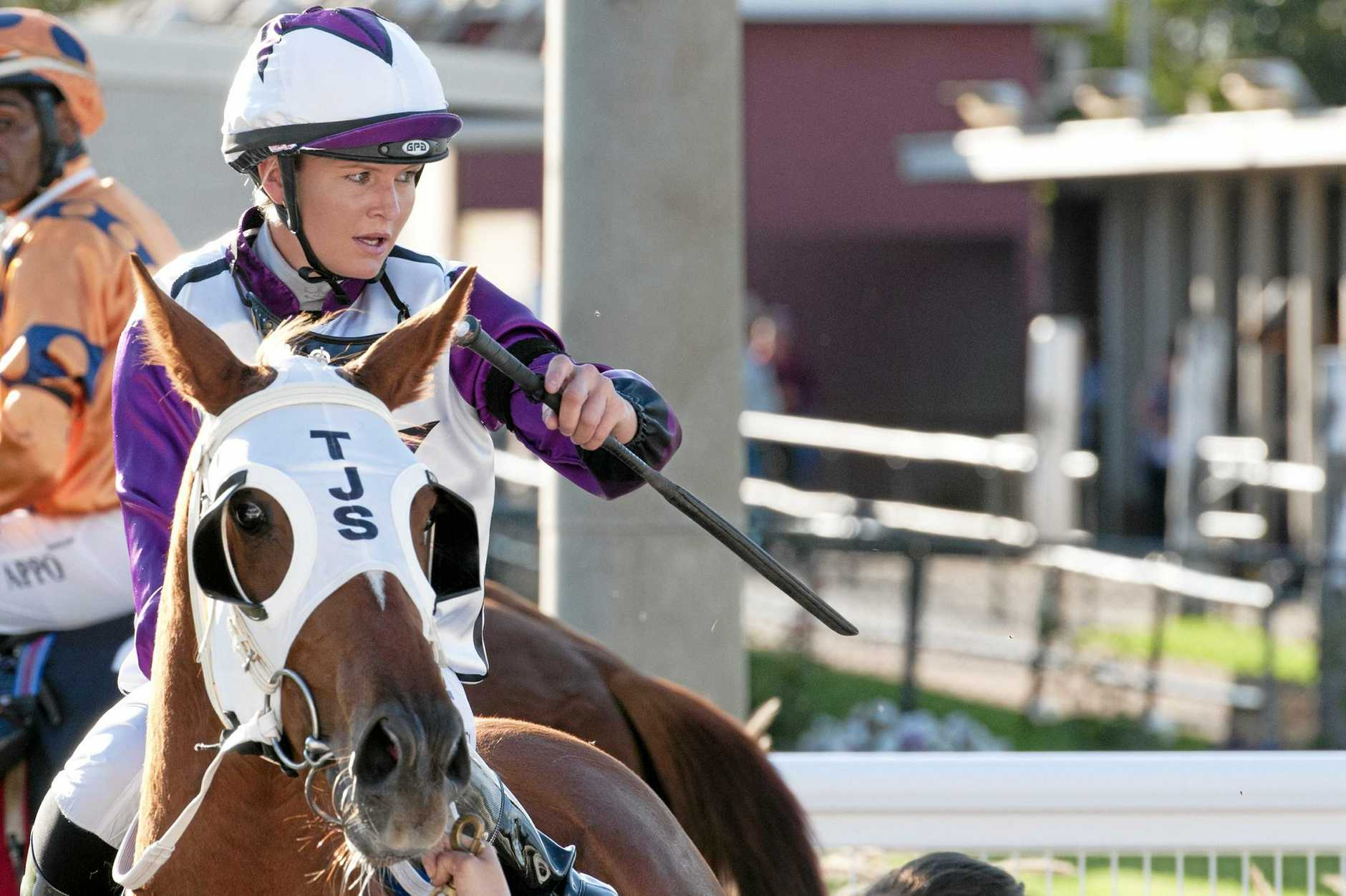 Toowoomba apprentice Emma Ljung returns to the Clifford Park winner's stall on Two Shoes during her successful comeback to riding last November.