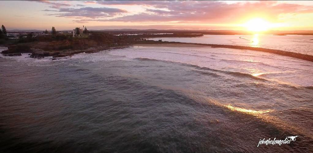 A snapshot of ex-Clarence Valley resident John Hale's drone video of Turners Beach in Yamba.