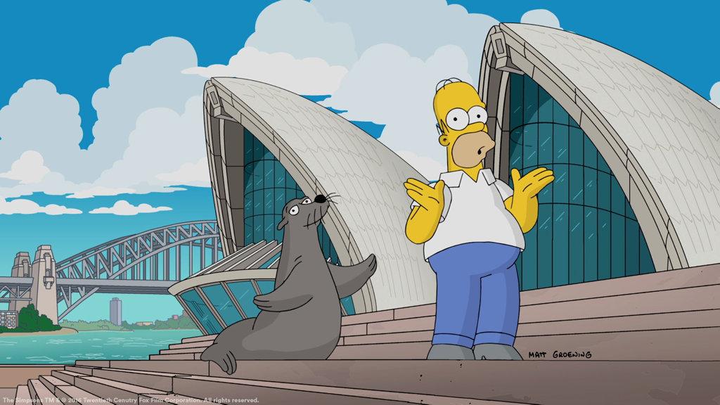 Homer Simpson visits the Sydney Opera House.