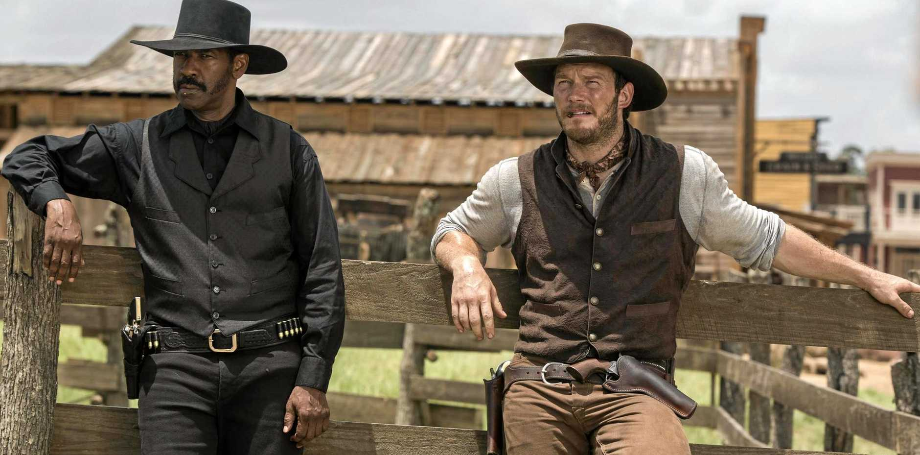 WILD WEST: Denzel Washington and Chris Pratt in a scene from the movie.