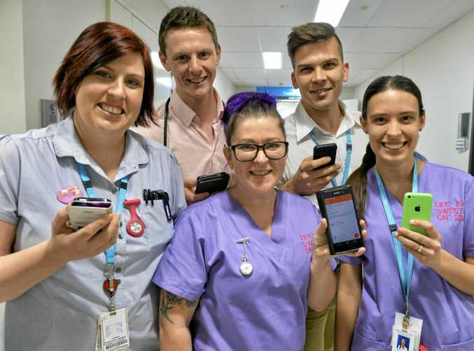 COUNT US IN: Ipswich hospital staff have joined the QT Kick the Kilo campaign and are now recording their workouts on our club App Strava. (l.tor.) Clinical Midwife Susan Neuendorff, Dr Stewart Booth, Brendan Dieckmann and registered nurses Nicole Kovasen and Keely Johnson.