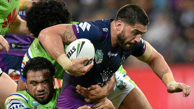 Jesse Bromwich of the Storm on the charge in the NRL preliminary final against the Raiders at AAMI Park.