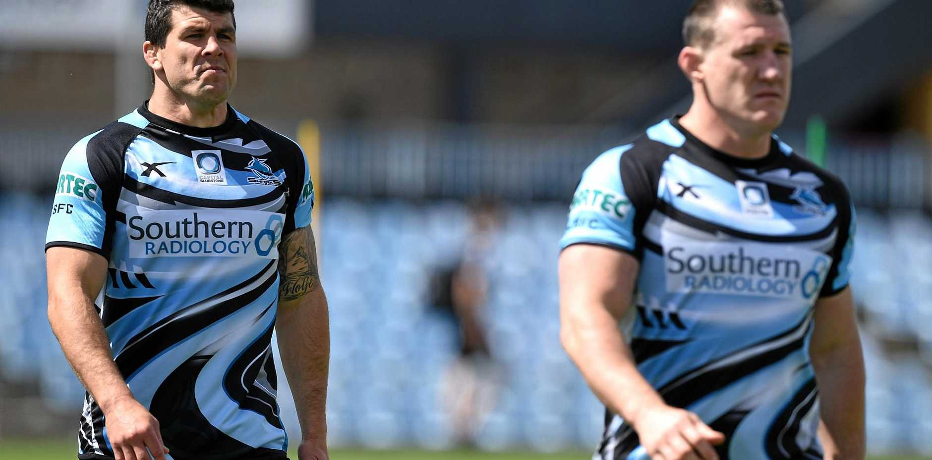 Cronulla Sharks players Michael Ennis and Paul Gallen take part in a training session at Southern Cross Stadium in Sydney.