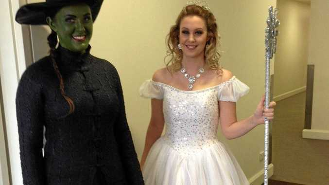 DRESSING UP: Jessica Berwick (left) and Elesha Hetherington dressed up as their favourite Wicked characters to promote the Toowoomba production at the Carnival of Flowers weekend.