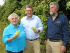CQ FRUIT: Michelle Landry, Federal Assistant Minister for Trade, Tourism and Investment Keith Pitt and farmer Ian Groves .