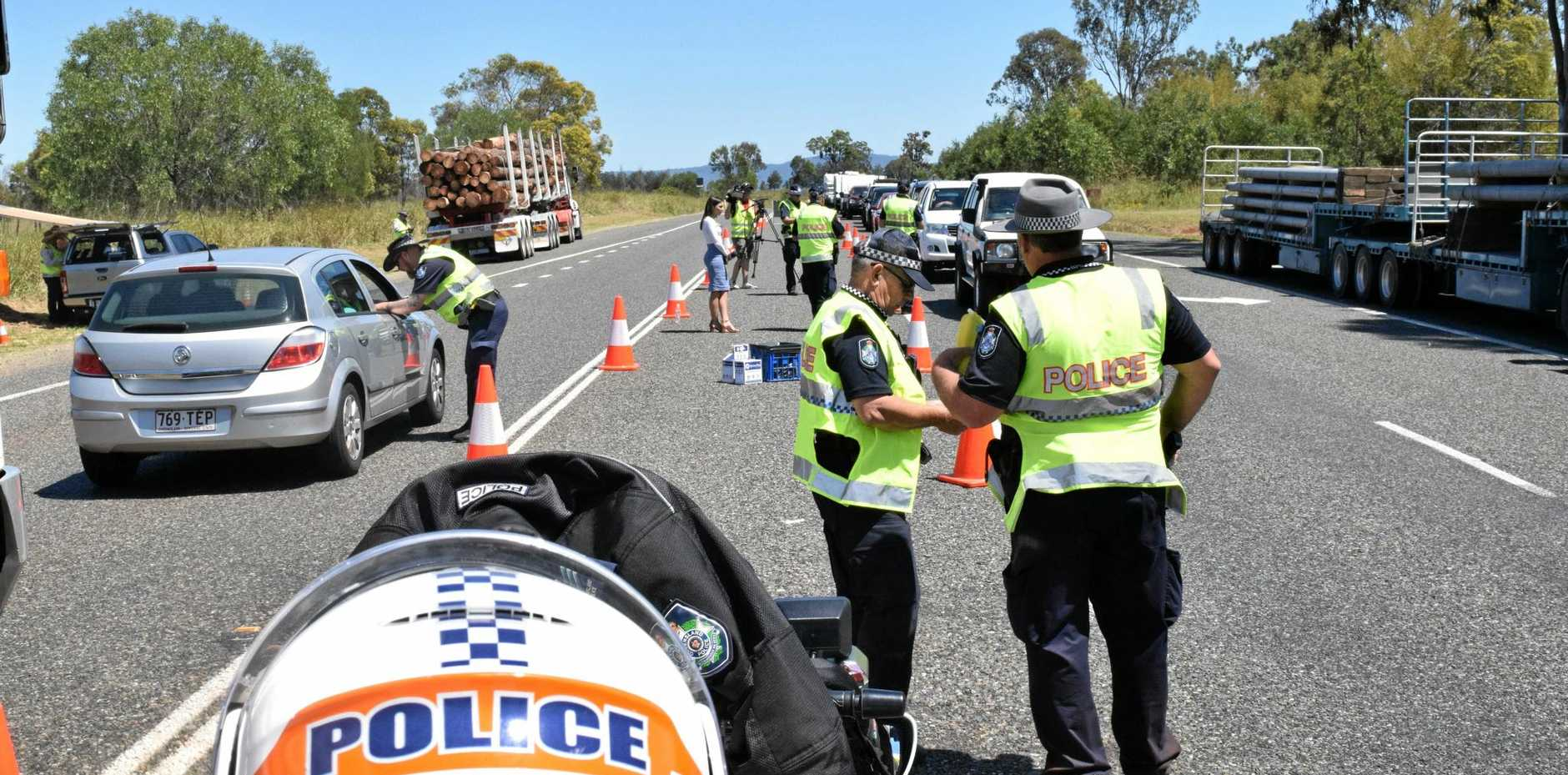 ROAD BLITZ: Police stop drivers during Wednesday's blitz north of Gin Gin.