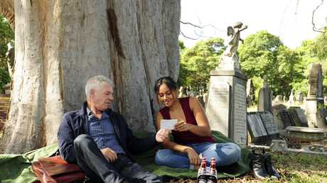Colin Friels and Jessica Mauboy in a scene from The Secret Daughter.