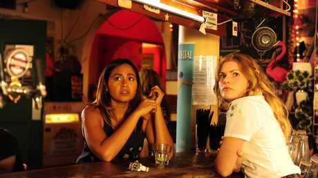 Jessica Mauboy and Bonnie Sveen in a scene from The Secret Daughter.