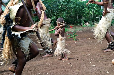 Tourists get a taste of village life during a one-day tour around Efate, Vanuatu's main island.