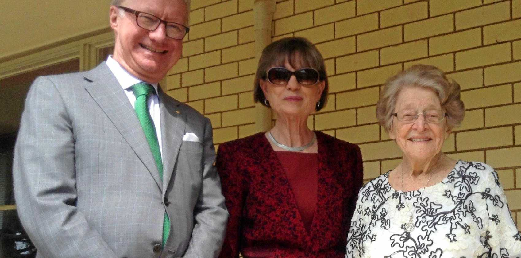 HONOURABLE VISIT: Queensland Governor Paul de Jersey and his wife with Gladys Gerchow.