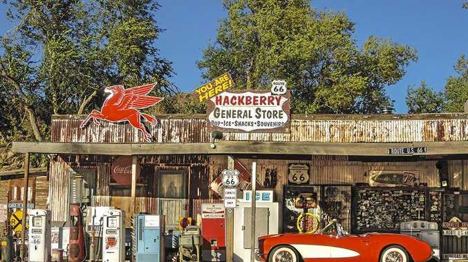 The most photographed red Corvette in the US is parked out the front of the Hackberry General Store in Arizona.