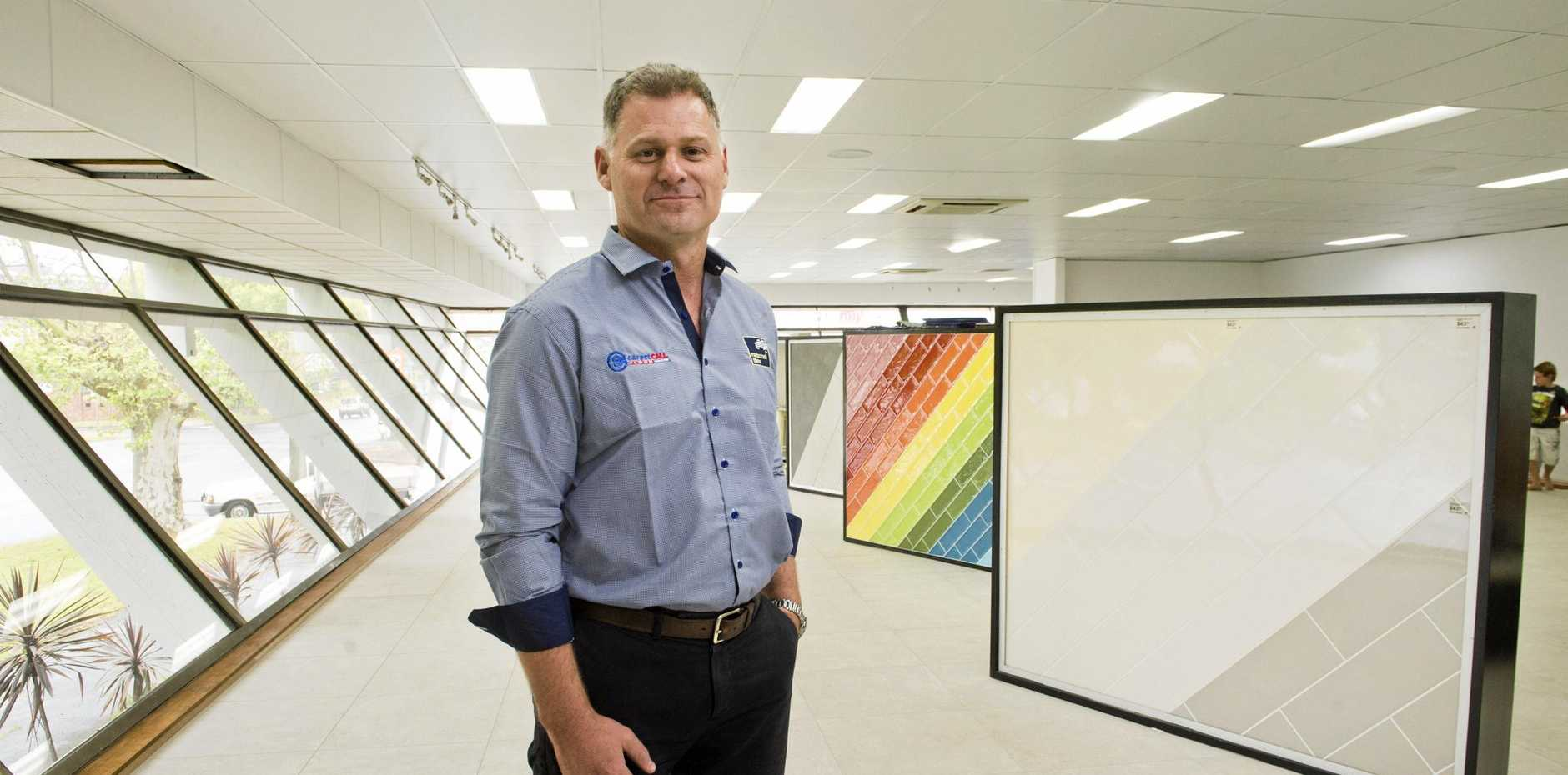 FLOORING MECCA: Carpet Call and National Tiles Toowoomba store owner Barton Castley ahead of the store opening tomorrow.
