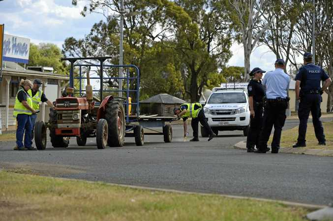 WORKPLACE DEATH: Police at the scene of a fatal workplace incident at the Toowoomba Showgrounds in April.