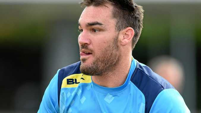 Luke Douglas during a Gold Coast Titans training session.