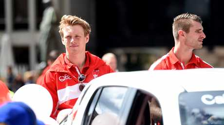 Callum Mills during today's grand final parade in Melbourne.