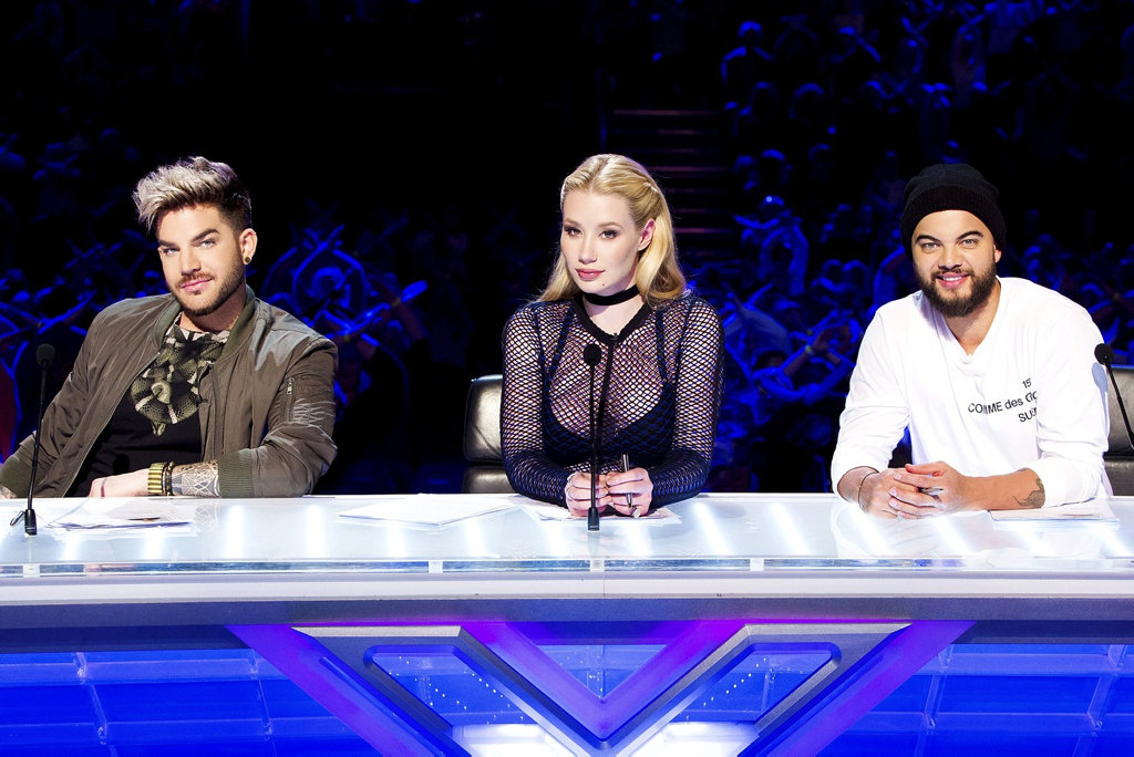 The 2016 X Factor judges, from left, Adam Lambert, Iggy Azalea and Guy Sebastian.