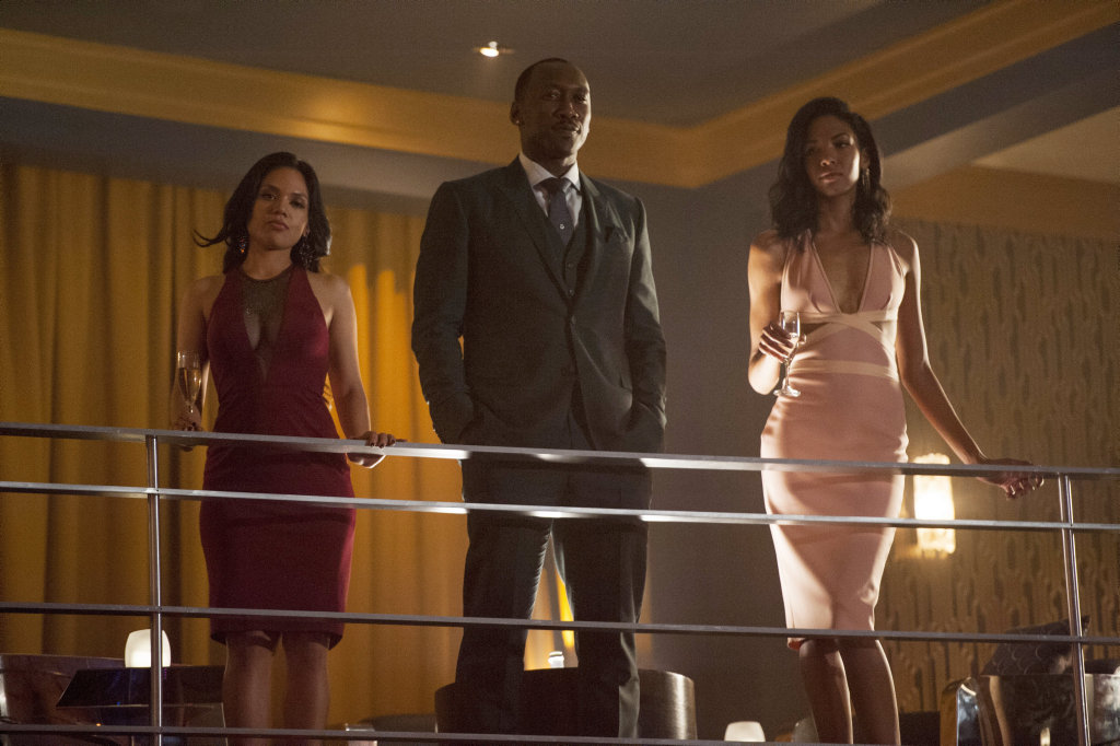 Mahershala Ali, centre, in a scene from the TV series Marvel's Luke Cage. Supplied by Netflix.