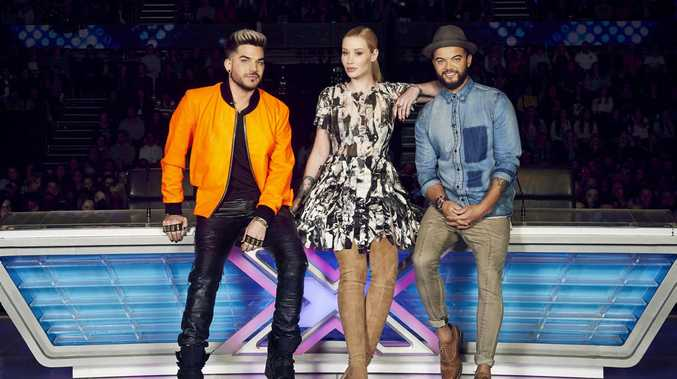 The X Factor judges Adam Lambert, Iggy Azalea and Guy Sebastian.